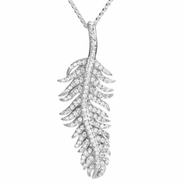 Ladies Shipton and Co Silver and Cubic Zirconia Leaf Pendant including a 16 Silver Chain TAO019CZ