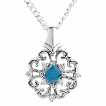 Ladies Shipton and Co 9ct White Gold Blue and White Diamond Pendant including a 16 White Gold Chain PWD143DI