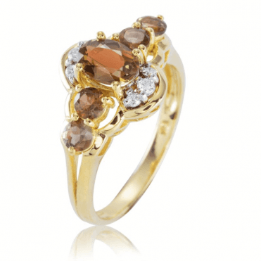 Ladies Shipton and Co Exclusive 9ct Yellow Gold Diamond and 1.8ct Andalusite Cluster Ring RYD138AND