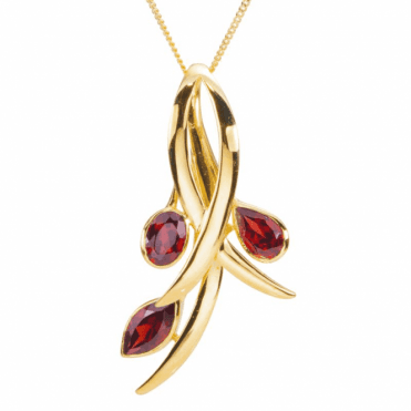 Ladies Shipton and Co 9ct Yellow Gold and Garnet Pendant including a 16 9ct Chain PYG070GR
