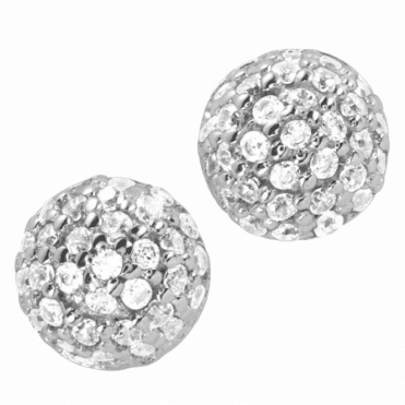 Ladies Shipton and Co 9ct White Gold and Cubic Zirconia Cluster Stud Earrings TEM062CZ