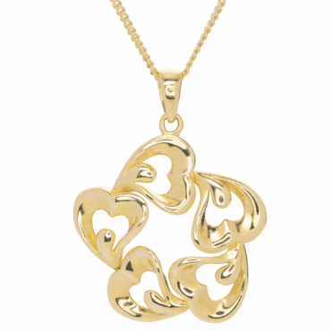 Ladies Shipton and Co 9ct Yellow Gold Heart Pendant including a 16 9ct Chain TAR618NS
