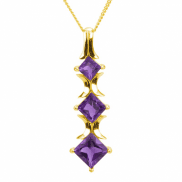 Ladies Shipton and Co 9ct Yellow Gold and 1.5ct Amethyst Pendant including a 16 9ct Chain PYG068AM