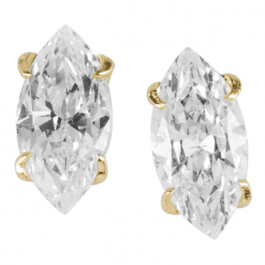 Ladies Shipton and Co 9ct Yellow Gold and Marquise Cubic Zirconia Stud Earrings TEM066CZ