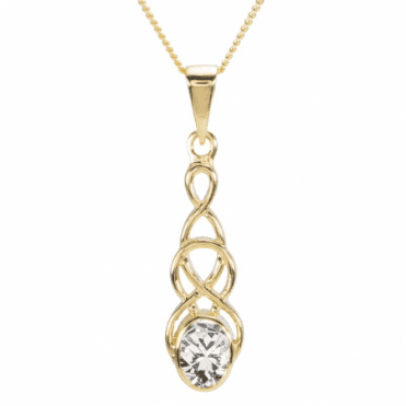 Ladies Shipton and Co 9ct Yellow Gold and Cubic Zirconia Drop Pendant including a 16 9ct Chain PY1866CZ