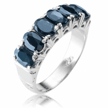 Ladies Shipton and Co Silver and 3ct Blue Sapphire Half Eternity Ring TFE176BS
