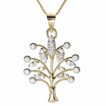 Ladies Shipton and Co 9ct Yellow Gold and Cubic Zirconia Tree of Life Pendant including a 16 9ct Chain TEM074CZ