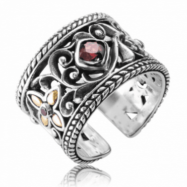 Ladies Shipton and Co Silver and Gold Garnet Ring TFE174GR
