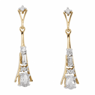 Ladies Shipton and Co Exclusive 9ct Yellow Gold and 1.8ct Zircon Drop Earrings EYG067ZR