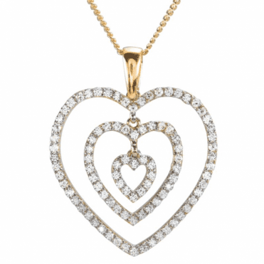 Ladies Shipton and Co 9ct Yellow Gold and Cubic Zirconia Hearts Pendant including a 16 9ct Chain TEM071CZ