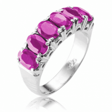 Half Eternity Ring with 3cts of Oval Rubies - Now Only £45