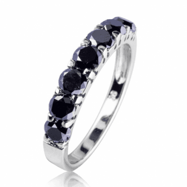 Half Eternity Ring with 1.25cts of Brilliant cut Black Diamonds in White Gold - Only £395