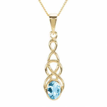 Ladies Shipton and Co 9ct Yellow Gold and Aquamarine Drop Pendant including a 16 9ct Chain PY1866AQ