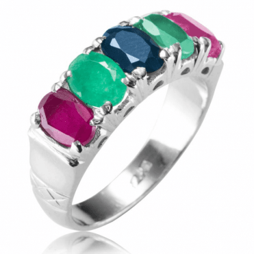 Ladies Shipton and Co Silver and Sapphire Emerald and Ruby Ring TFE175MU