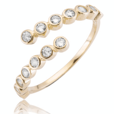 Ladies Shipton and Co 9ct Yellow Gold and Cubic Zirconia Adjustable Ring TAR620CZ