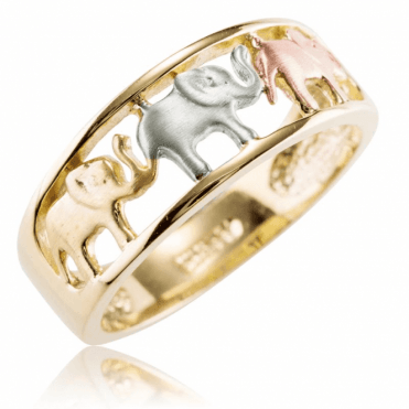 Ladies Shipton and Co 9ct Yellow White and Rose Gold Elephant Ring TAR621NS