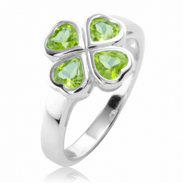 Ladies Shipton and Co Silver and Peridot Heart Ring TSV034PE