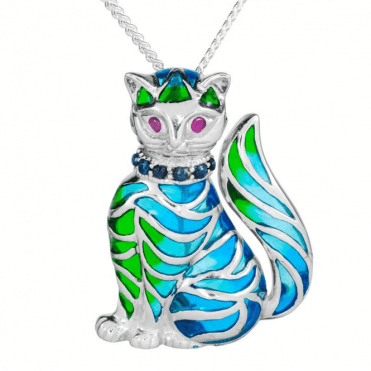Enamelled Cat Glints with Ruby & Sapphire