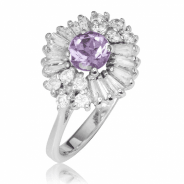 Ladies Shipton and Co Silver and Amethyst Ring TSV037MU