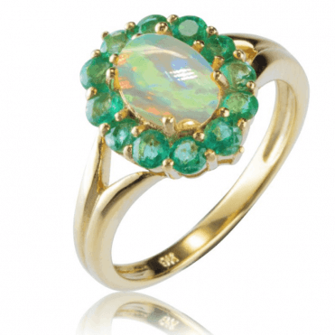 1.6cts of Opal & Zambian Emeralds in a Gold Cluster Ring