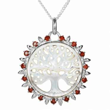 Hand Carved Tree of Life in over 2 Carats of Garnet