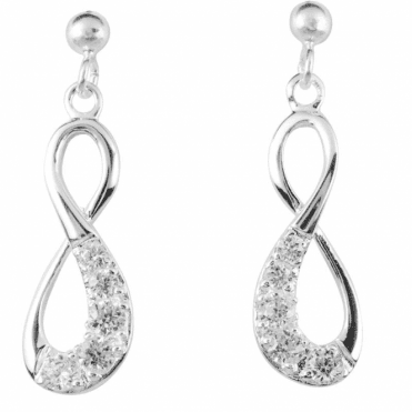 Ladies Shipton and Co Silver and Cubic Zirconia Infinity Drop Earrings TFE206CZ
