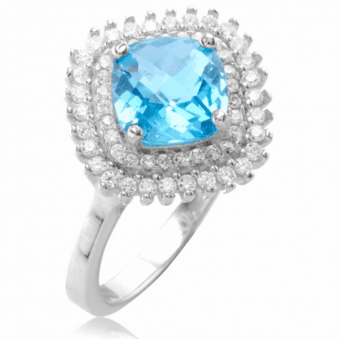Ladies Shipton and Co Silver and Blue Topaz Ring TFE221BTWT