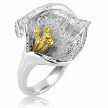 Easy-Fitting Lily Ring Touched with Gold Only £30
