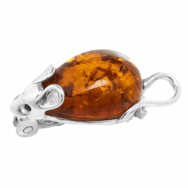 Ladies Shipton and Co Silver and Amber Brooch TFE238AB