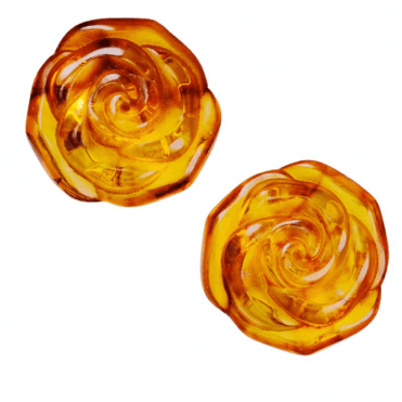 Translucent Amber Rose Earrings