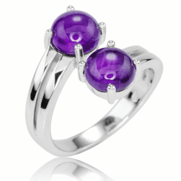 Adjustable Silver Ring Displays 5cts of Amethyst
