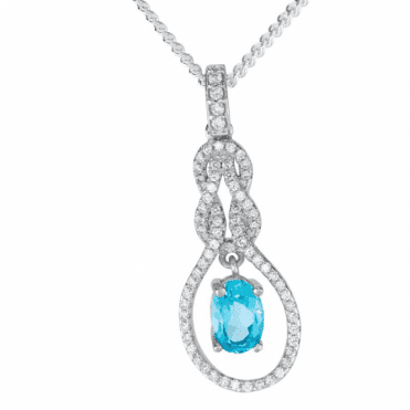 Ladies Shipton and Co Silver and Blue Topaz Pendant including a 16 Silver Chain TFE255BTWT
