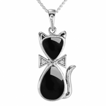Lucky Black Cat in Glistening Onyx with White Topaz