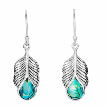 Sterling Silver Peacock Earrings with Paua Shell