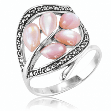 Ladies Shipton and Co Silver and Mother of Pearl Ring TSV065PMMM