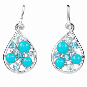 Turquoise & Blue Topaz Ocean Earrings