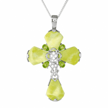 Celtic Cross in Iona Marble and Peridot