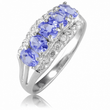 Ladies Shipton and Co Silver White Tozap and Tanzanite Ring TFE249TZWT
