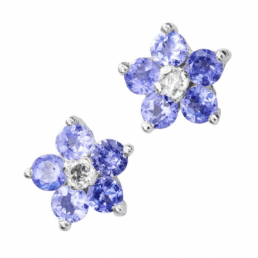Half Price Tanzanite Flower Studs