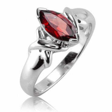 Marquise Garnet Ring Glints with Marcasite