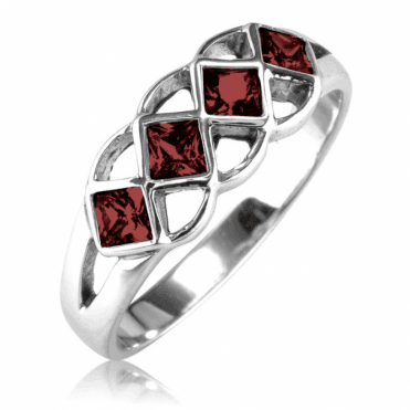 Unusual Square Setting for Precious Garnet