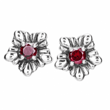 Garnet & Silver Flower Stud Earrings