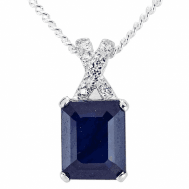 Ladies Shipton and Co Silver and Blue Sapphire Pendant including a 16 Silver Chain TFE248BSWT