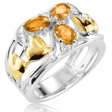Ladies Shipton and Co Silver and Yellow Sapphire Ring RQF015YS