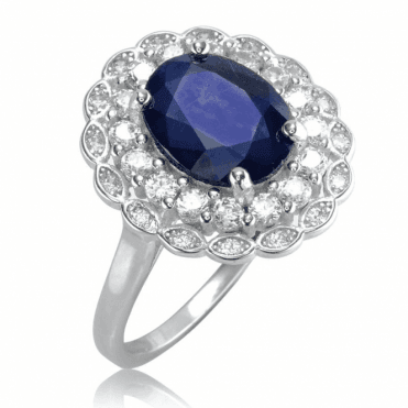 Princess Ring of Sapphire & White Topaz