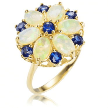 Freshly Picked Opal & Sapphire Flower Ring