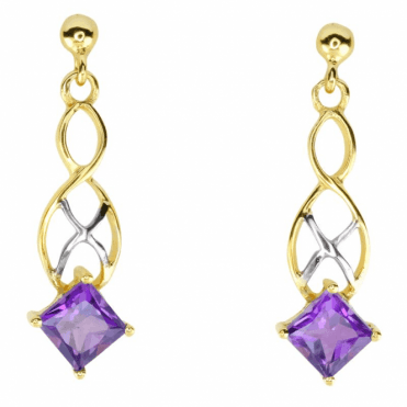 1.3cts of Square Cut Amethyst in Two Tone Gold