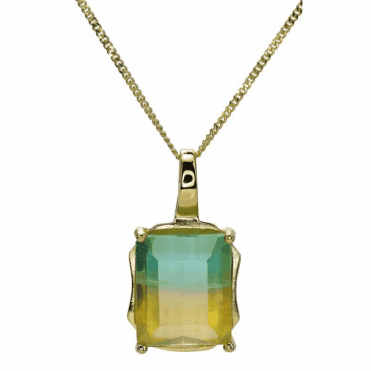 Ladies Shipton and Co 9ct Yellow Gold and Flourite Pendant including a 16 9ct Chain PYG084FL