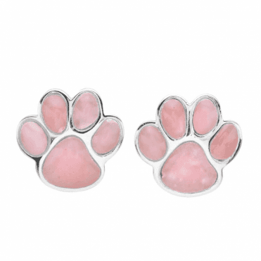 Ladies Shipton and Co Silver and Pink Opal Paws Earrings TSV066OP