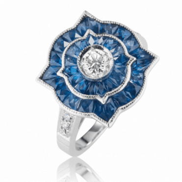 Over 2.5cts of Hand Cut Sapphires Crowned with Brilliant Diamond